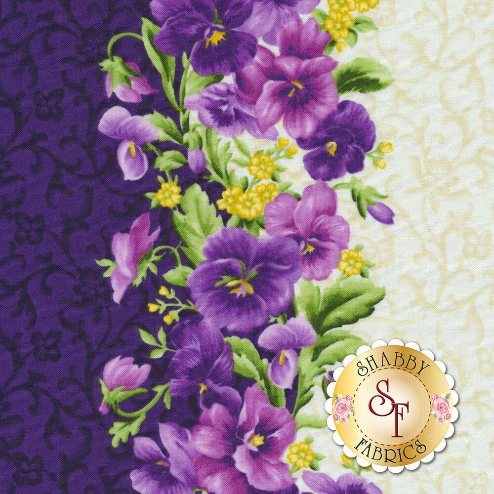 Emma's Garden 9171-VE Pansy Stripe by Debbie Beaves for Maywood Studio