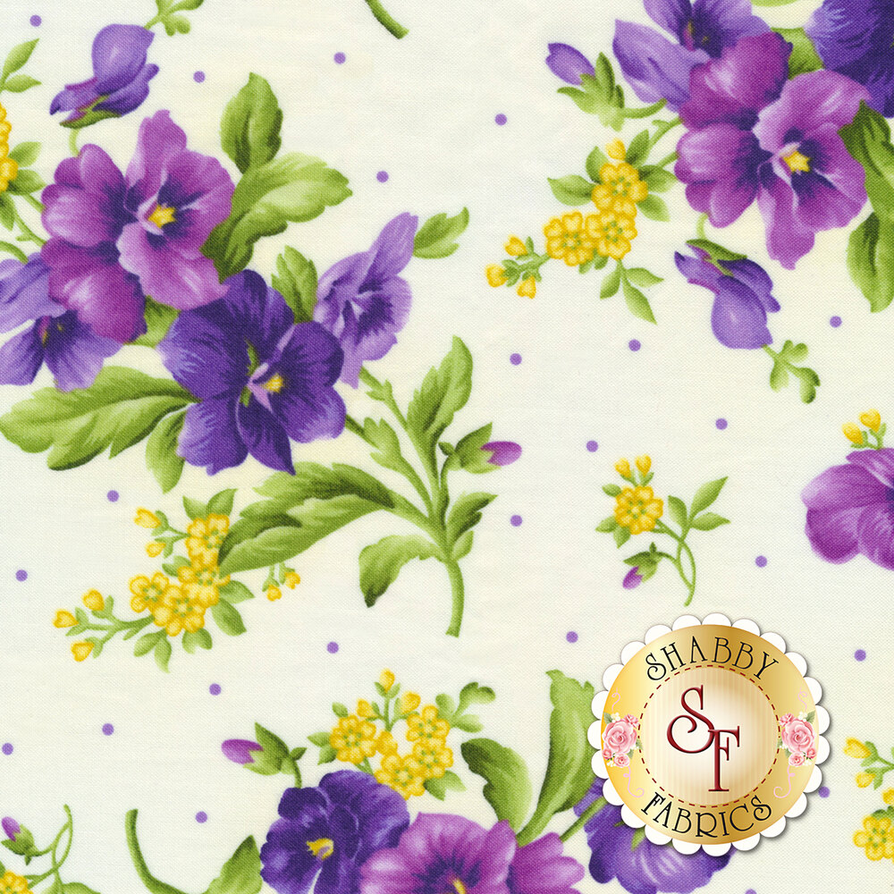Emma's Garden 9172-E Pansy Bouquets by Debbie Beaves for Maywood Studio
