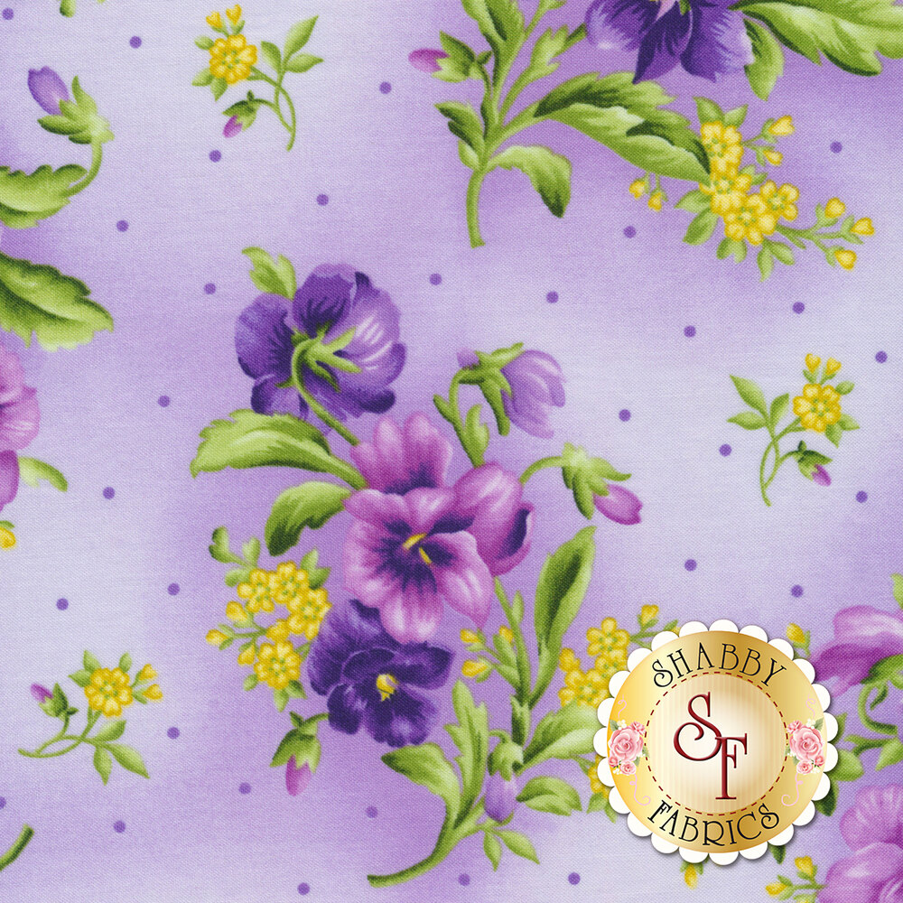Emma's Garden 9172-V2 Pansy Bouquets by Debbie Beaves for Maywood Studio