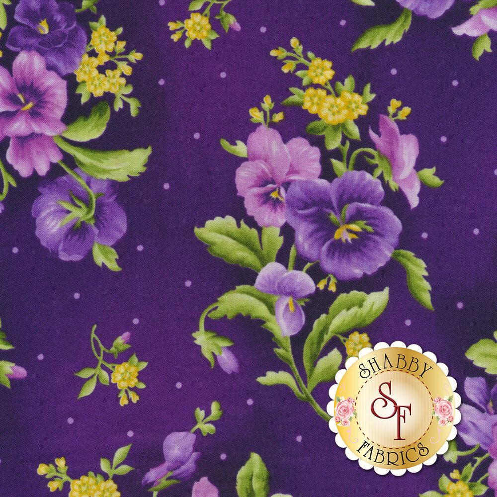 Emma's Garden 9172-V Pansy Bouquets by Debbie Beaves for Maywood Studio