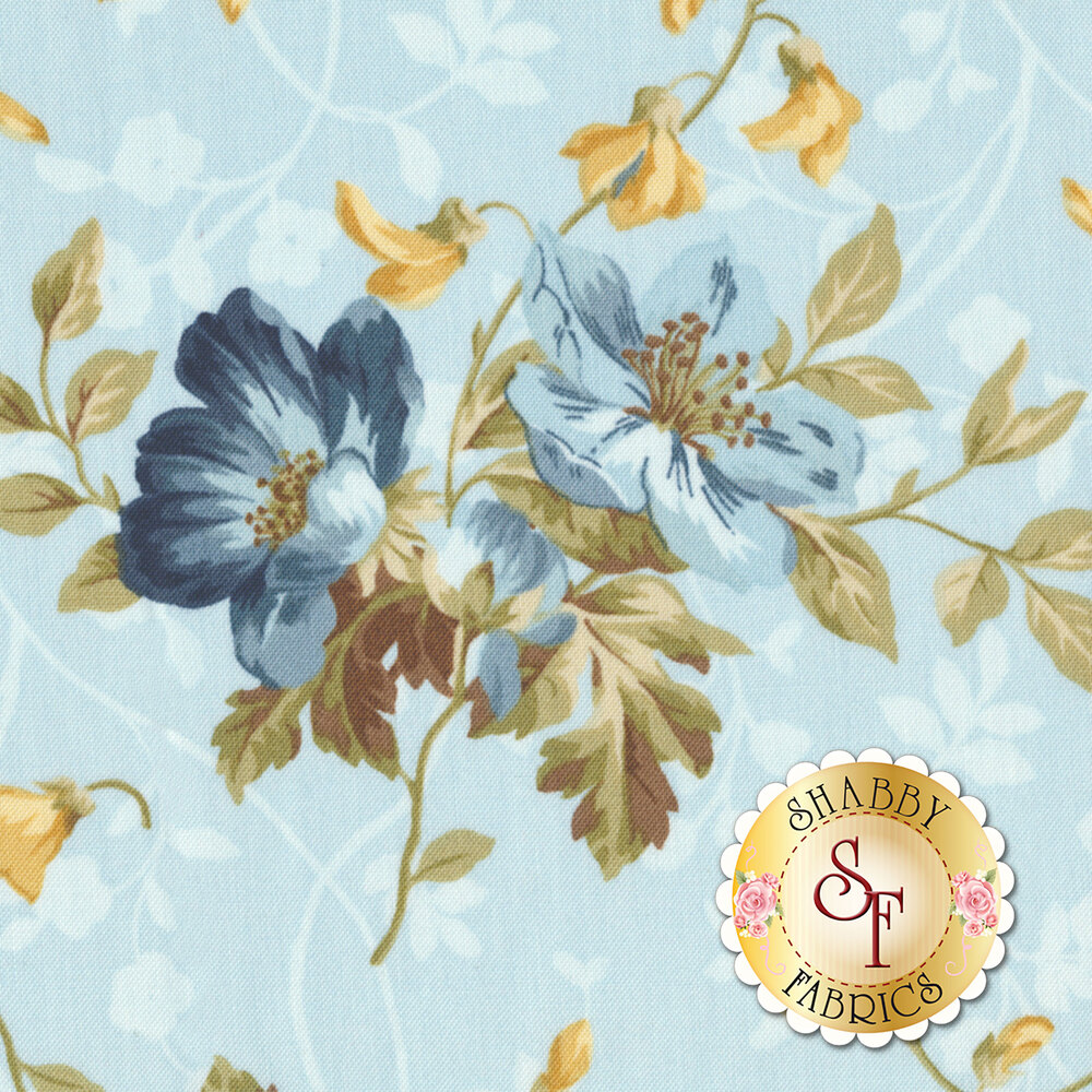 English Countryside 9161-B Spaced Floral Light Blue by Maywood Studio