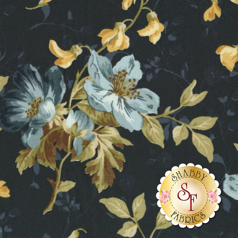 English Countryside 9161-N Spaced Floral Navy by Maywood Studio