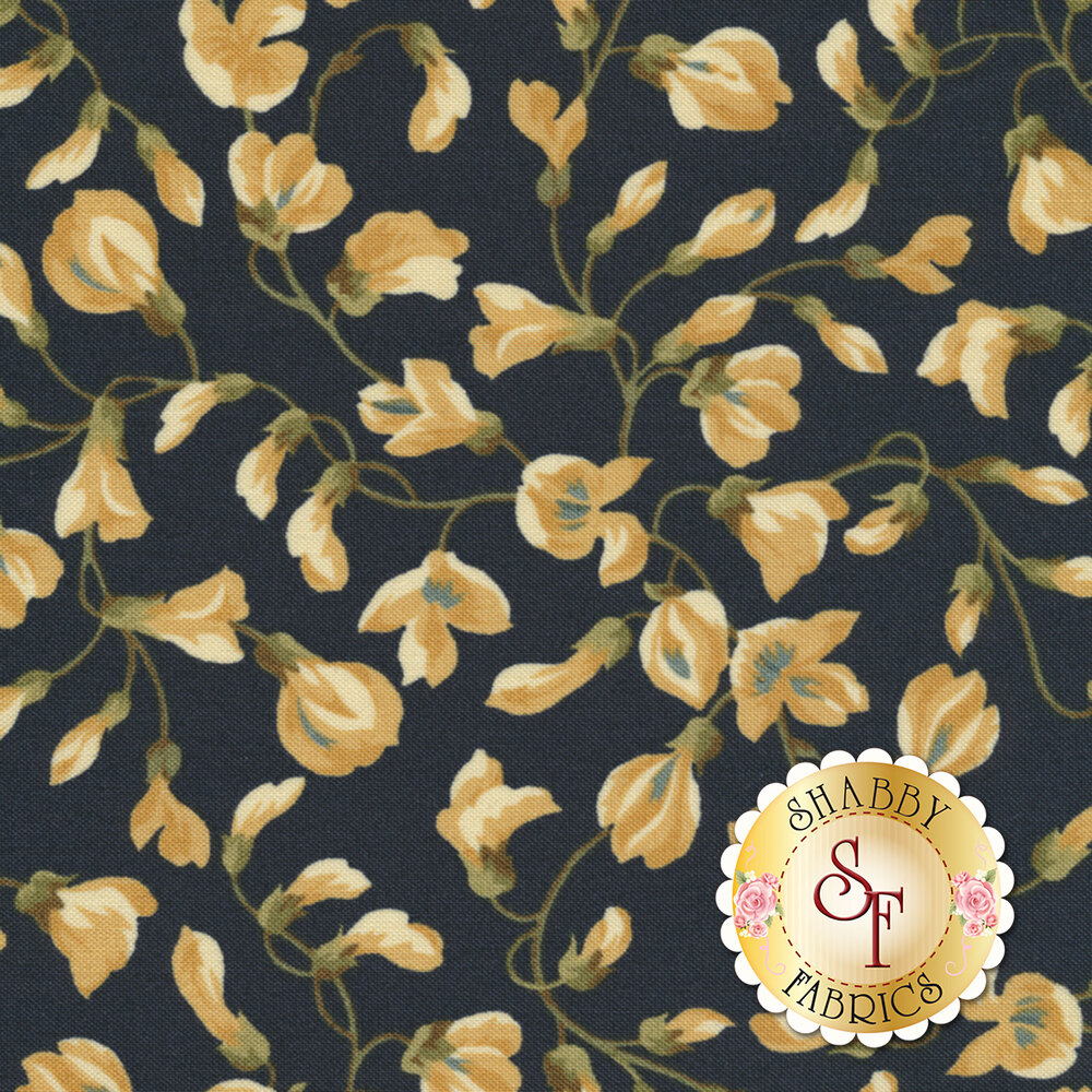 English Countryside 9164-N Vining Buds Navy by Maywood Studio