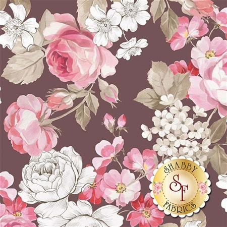English Rose C6970-BROWN by Penny Rose Fabrics