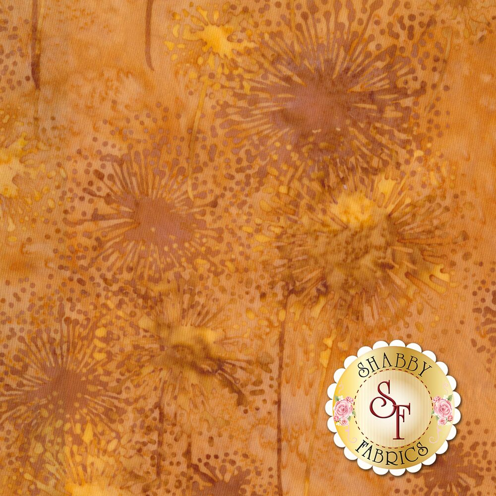 Tan dandelion outlines all over a mottled tan and orange background