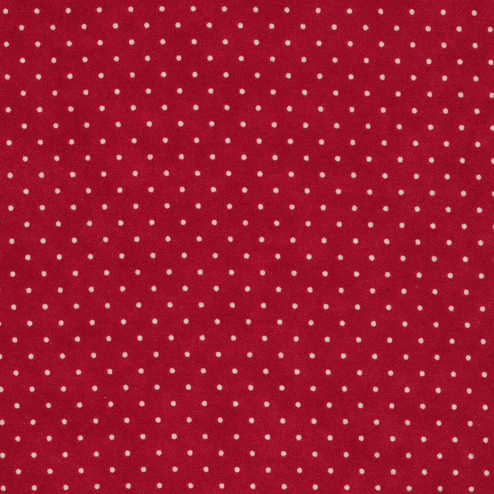 White polka dots all over deep red | Shabby Fabrics