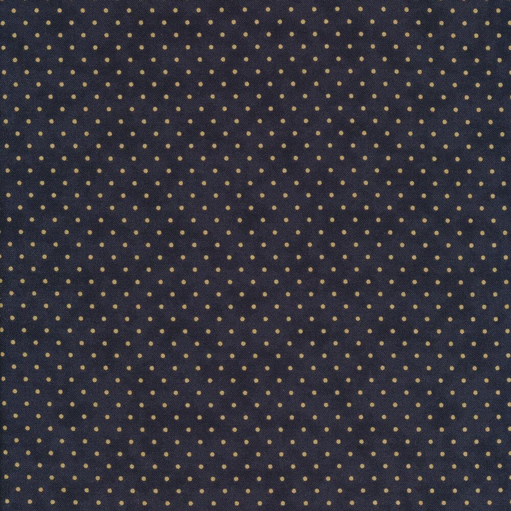 Tan polka dots all over navy   Shabby Fabrics