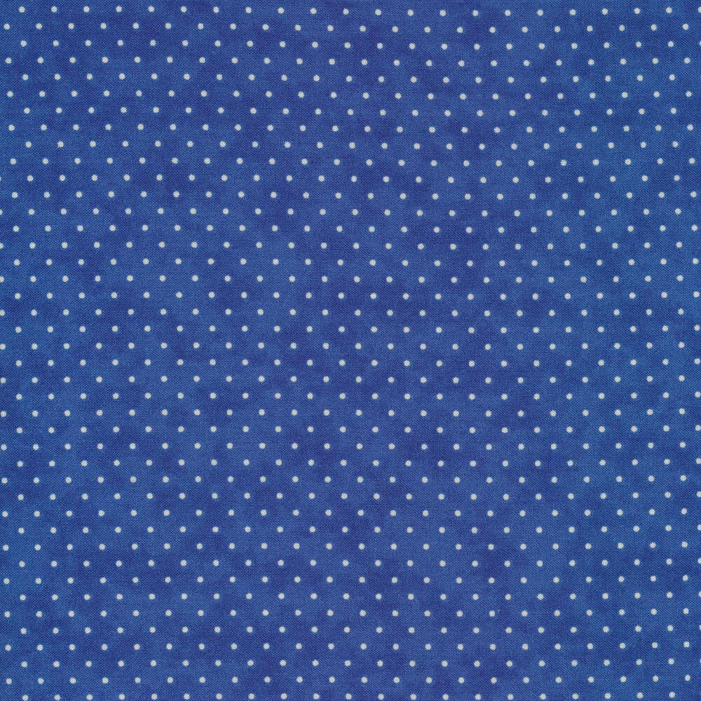 White polka dots all over royal blue   Shabby Fabrics