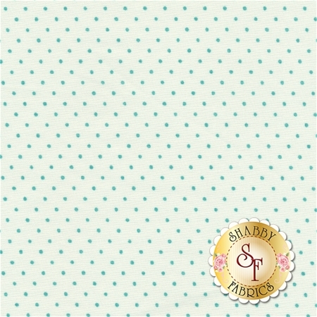 Moda Essential Dots 8654-65 White Teal For Moda Fabrics