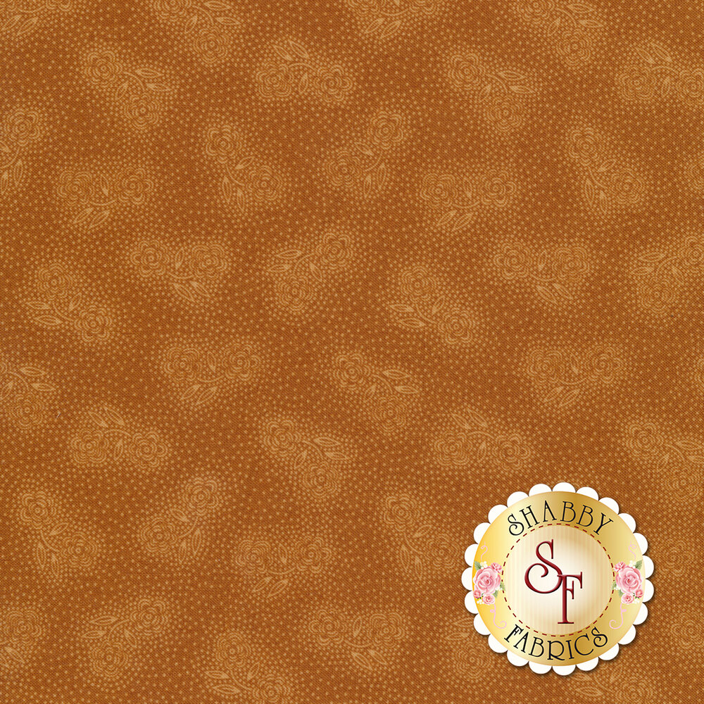 Tonal roses with small white dots on a brown background | Shabby Fabrics