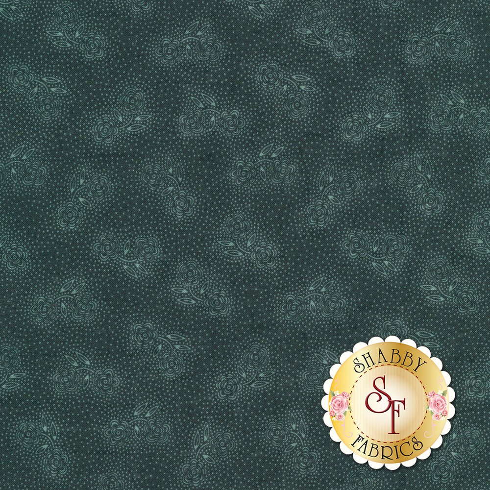 Tonal roses with small white dots on a blue background | Shabby Fabrics