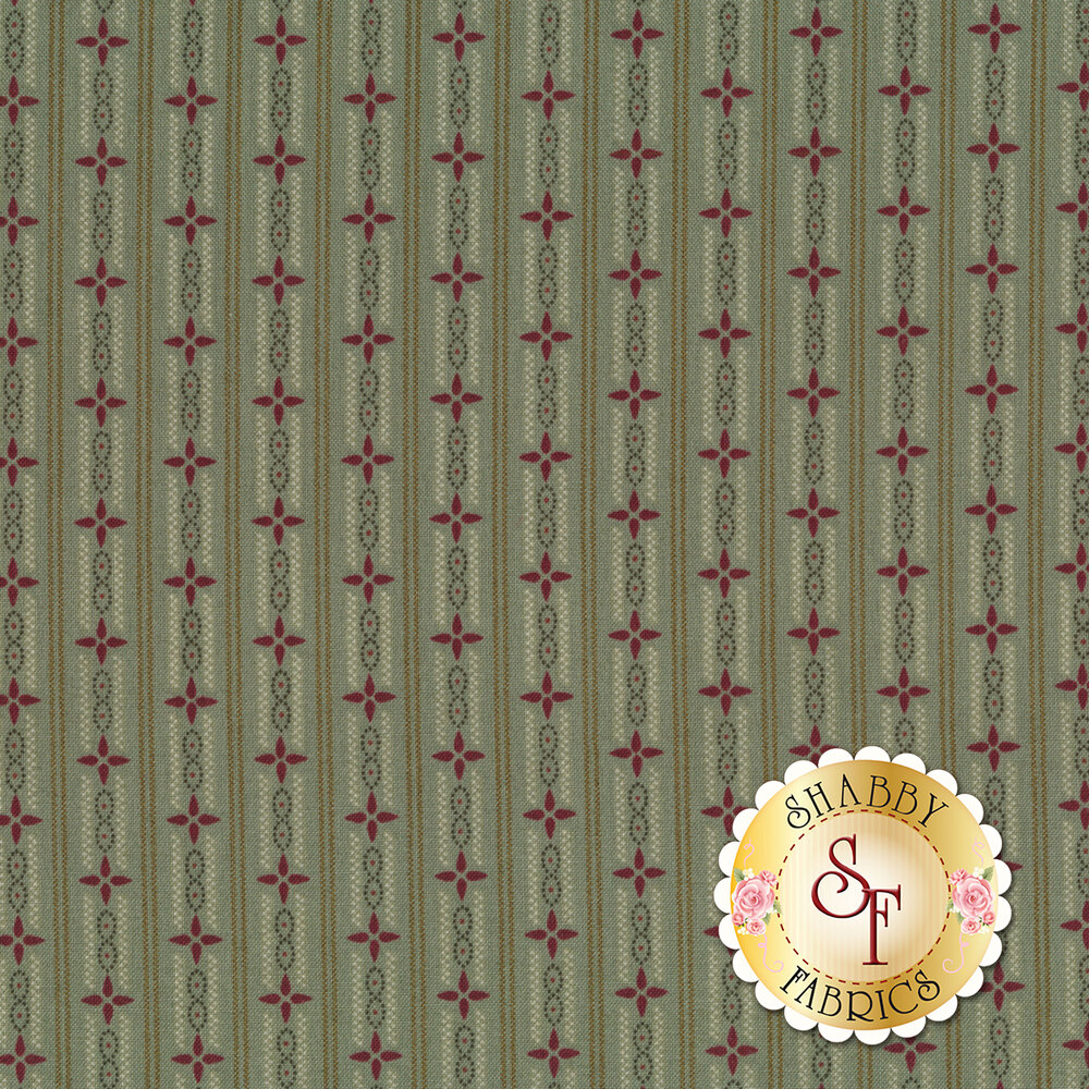 Aqua stripes with geometric stars | Shabby Fabrics
