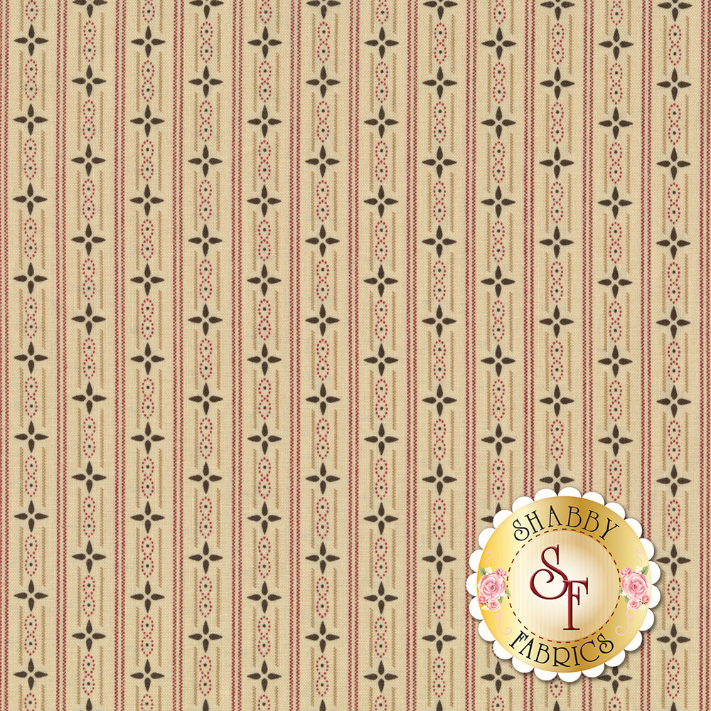Small red stripes with stars on a cream background | Shabby Fabrics