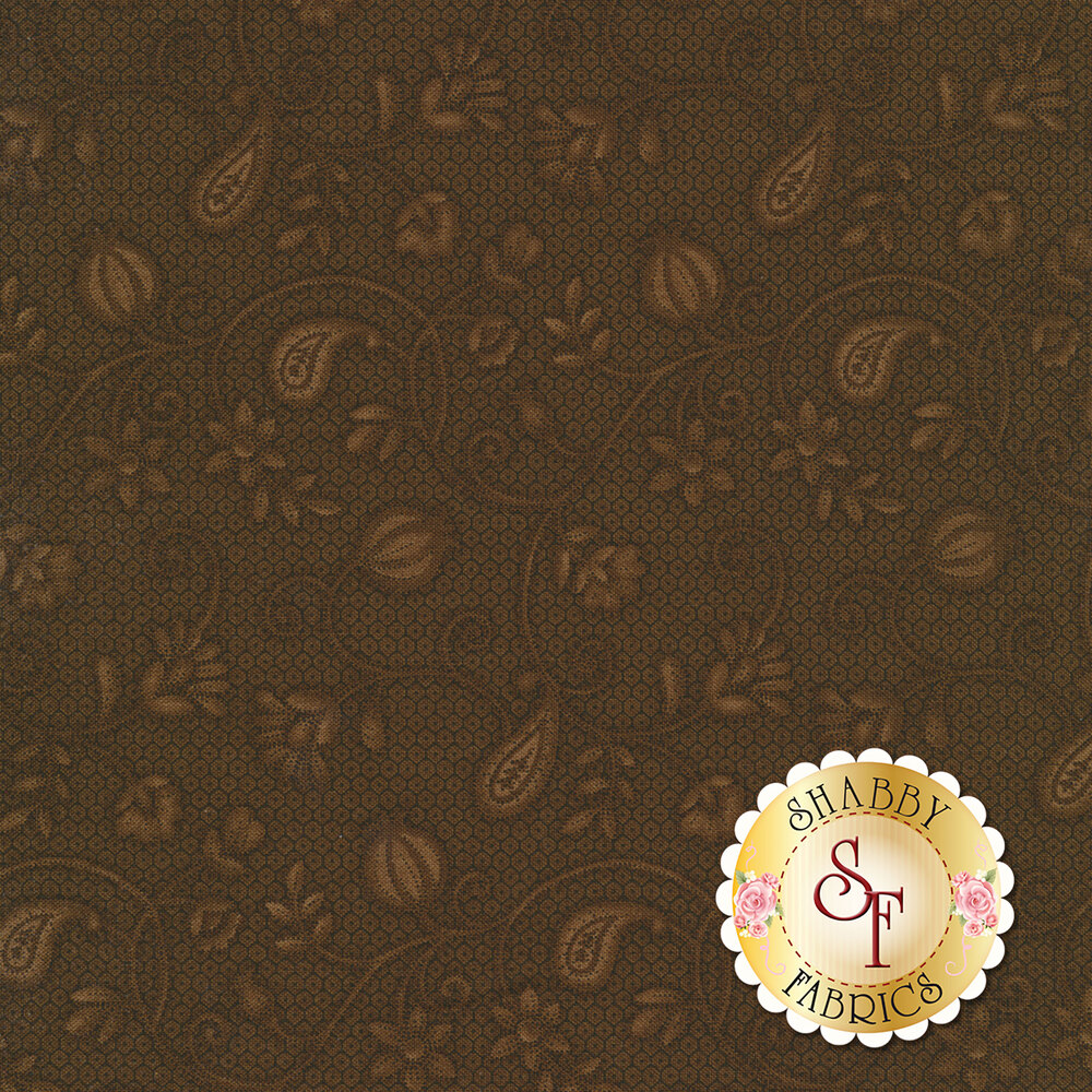 Tonal swirled scrolls with flowers and paisleys | Shabby Fabrics