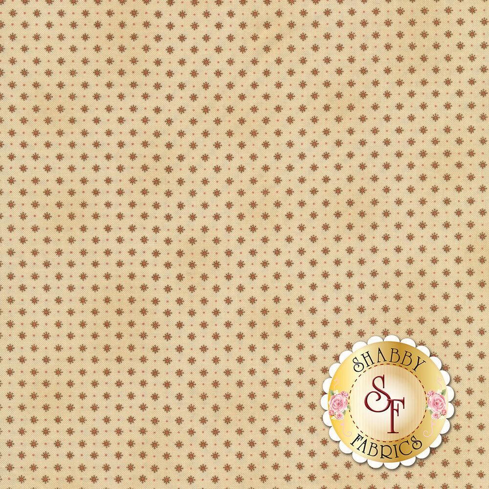 Small red fancy diamonds on a cream background with small red dots | Shabby Fabrics