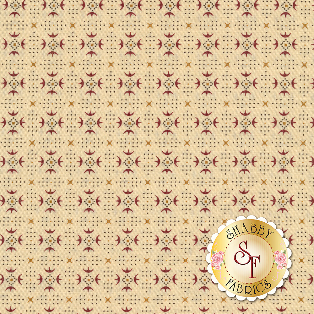 Turkey track patterns around small dots forming diamonds on a cream background | Shabby Fabrics