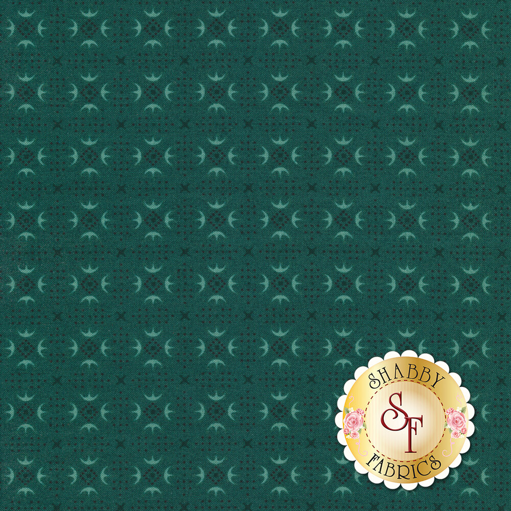 Turkey track patterns around small dots forming diamonds on a teal background | Shabby Fabrics