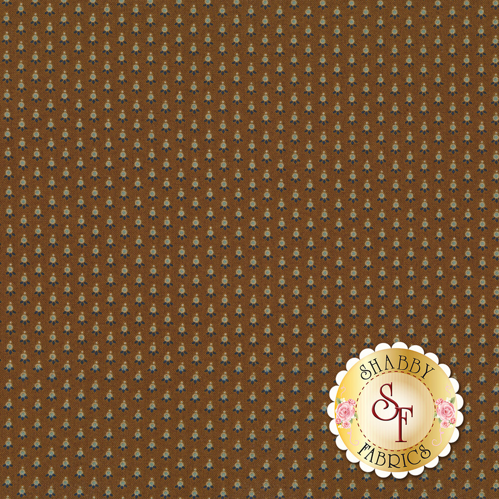 Small dots with tiny leaves on a brown background