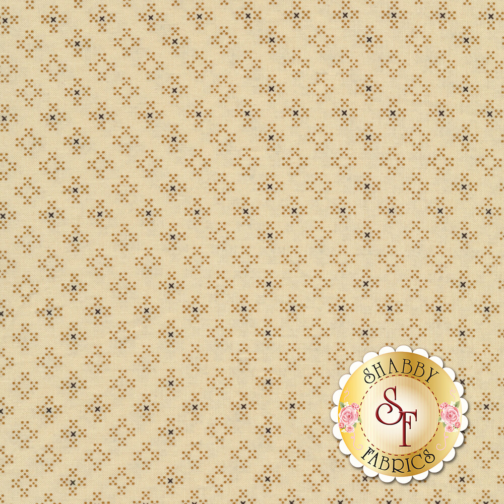 Small dots forming diamonds on a cream background | Shabby Fabrics