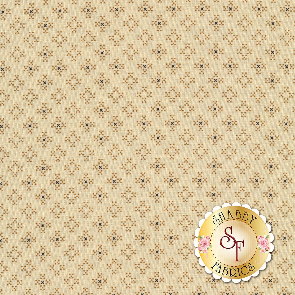 Small dots forming diamonds on a cream background | Shabby Fabrics