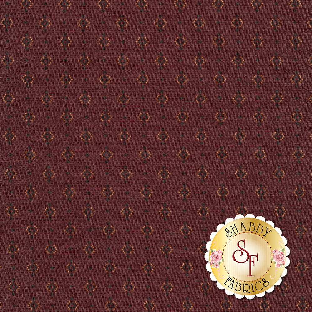 Small black diamonds surrounded by dots on a dark red background | Shabby Fabrics