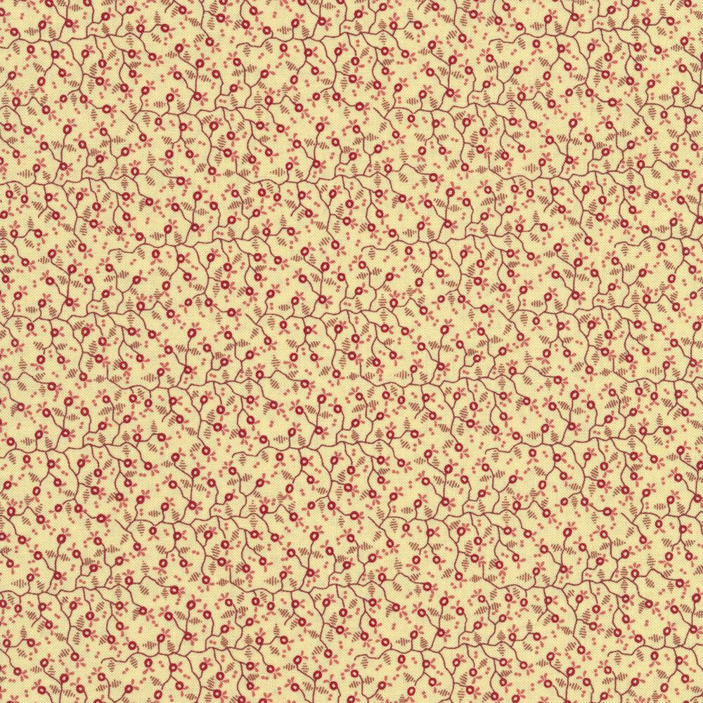 Tiny pomegranates with small vines all over a cream background   Shabby Fabrics