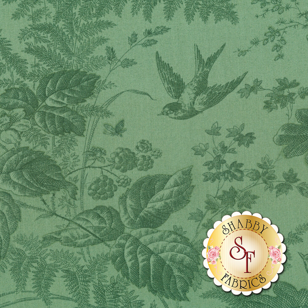 A tonal green fabric featuring flowers, leaves, snails and bumble bees   Shabby Fabrics