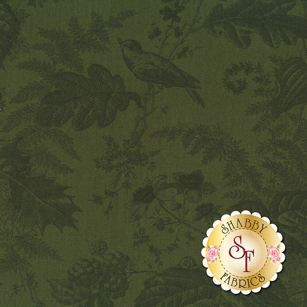 A green tonal print featuring birds, leaves, snails and bumble bees   Shabby Fabrics