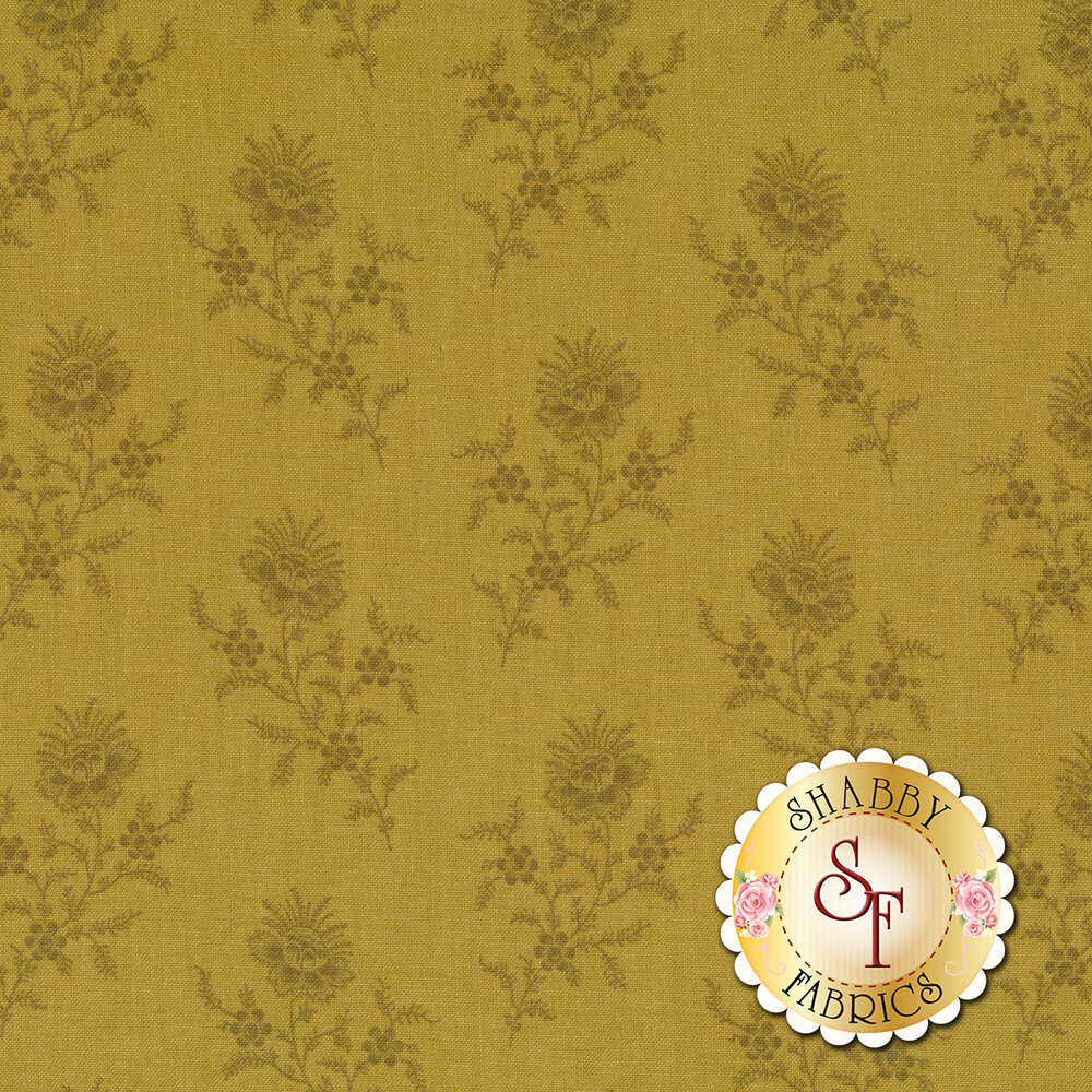 A beautiful chartreuse tonal fabric with darling tossed flowers | Shabby Fabrics