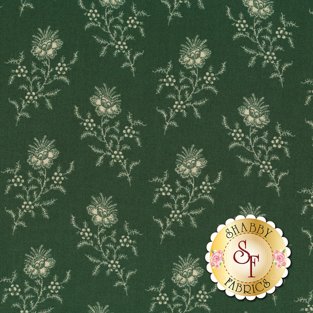 A beautiful green fabric with darling white tossed flowers | Shabby Fabrics