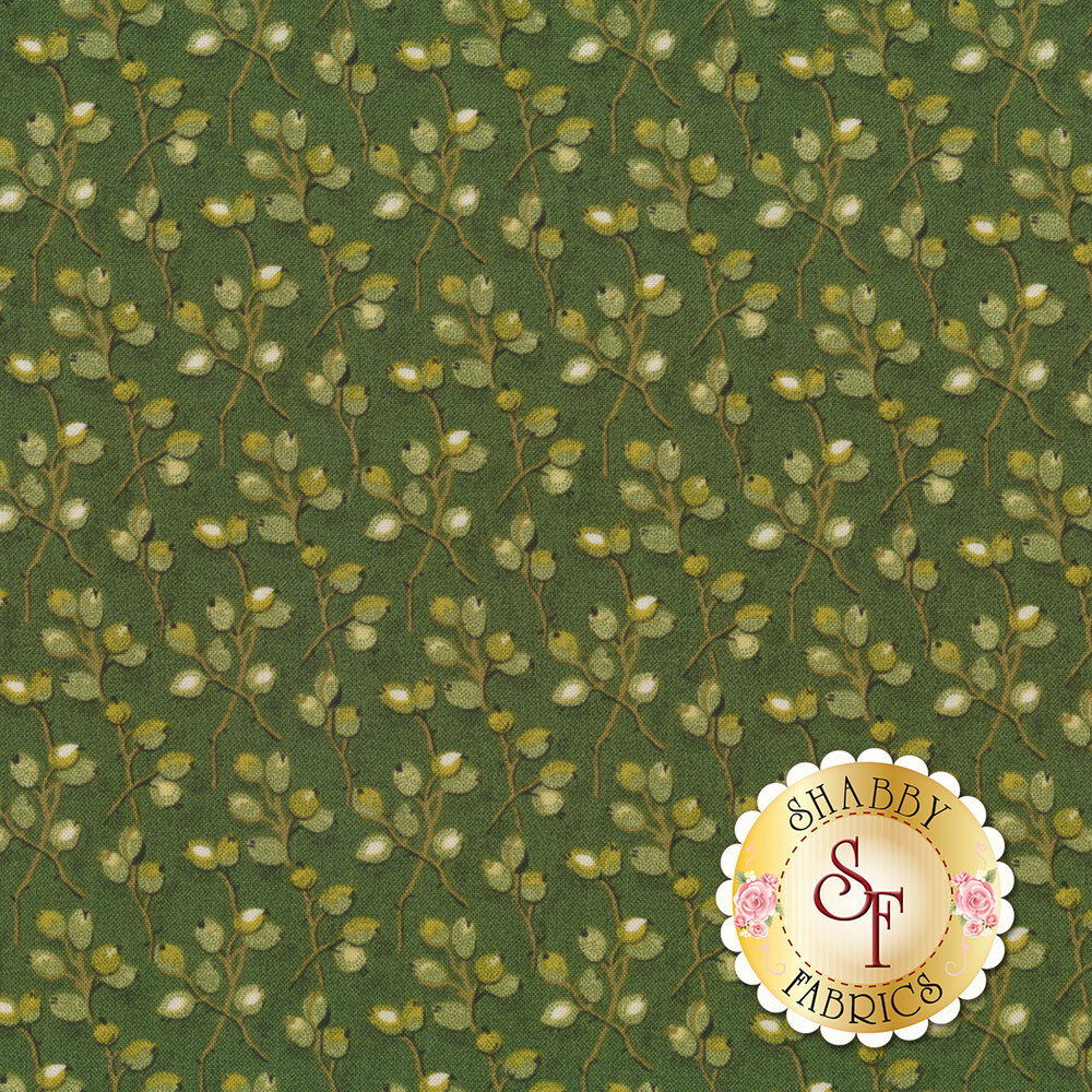 A beautiful green fabric with juniper buds on vines | Shabby Fabrics