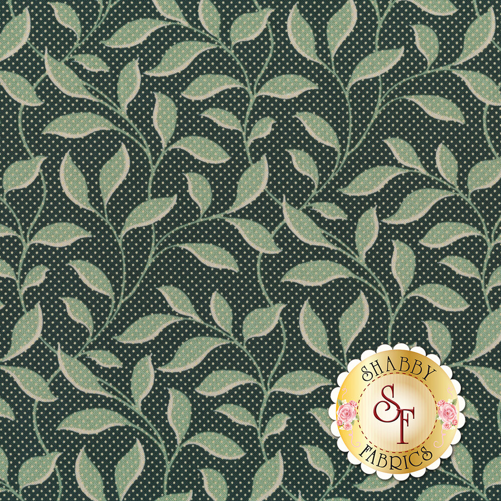 A dark teal fabric with tonal vines and leaves and small white pin dots all over | Shabby Fabrics