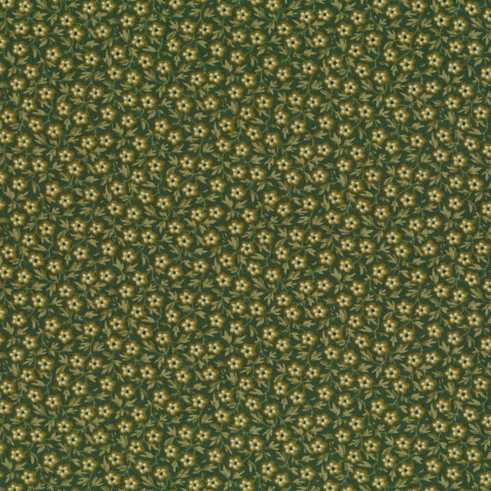 Small light green flowers and leaves all over on a dark green background | Shabby Fabrics