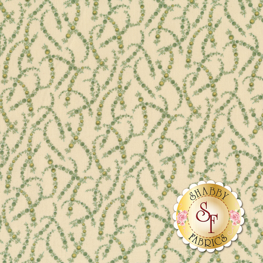A cream fabric with green garland all over | Shabby Fabrics