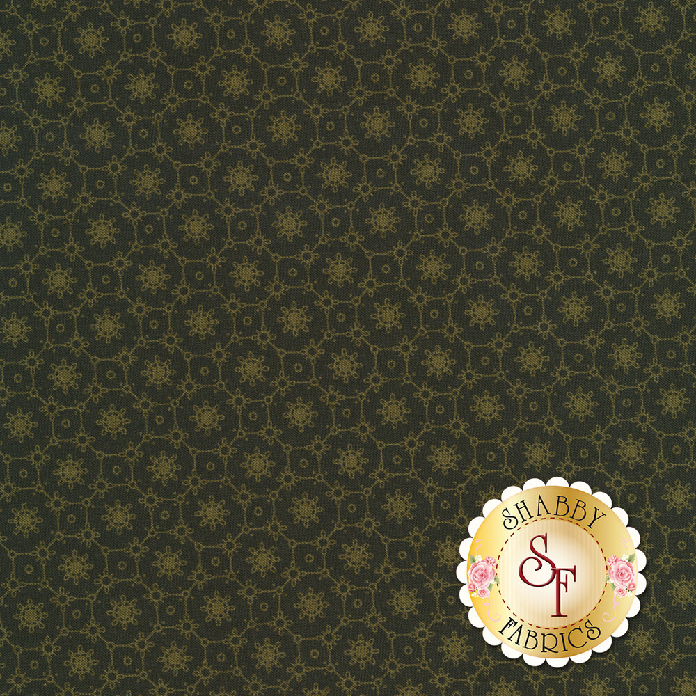 A dark green fabric with light green flowers and tiled designs | Shabby Fabrics