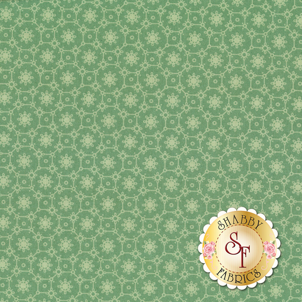A tonal mint colored fabric with flowers and tiled designs | Shabby Fabrics