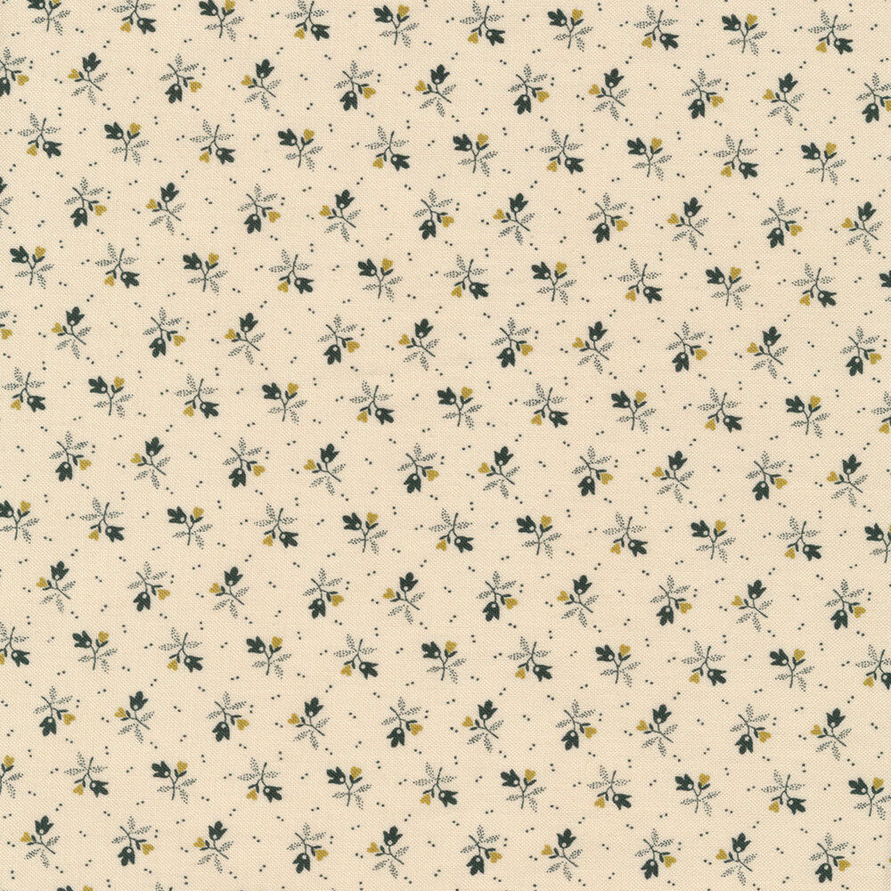 Darling tossed flowers on a cream background | Shabby Fabrics