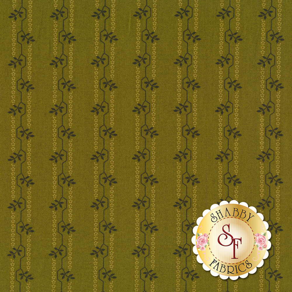 A tonal striped fabric with geometric lines and flower sprigs | Shabby Fabrics