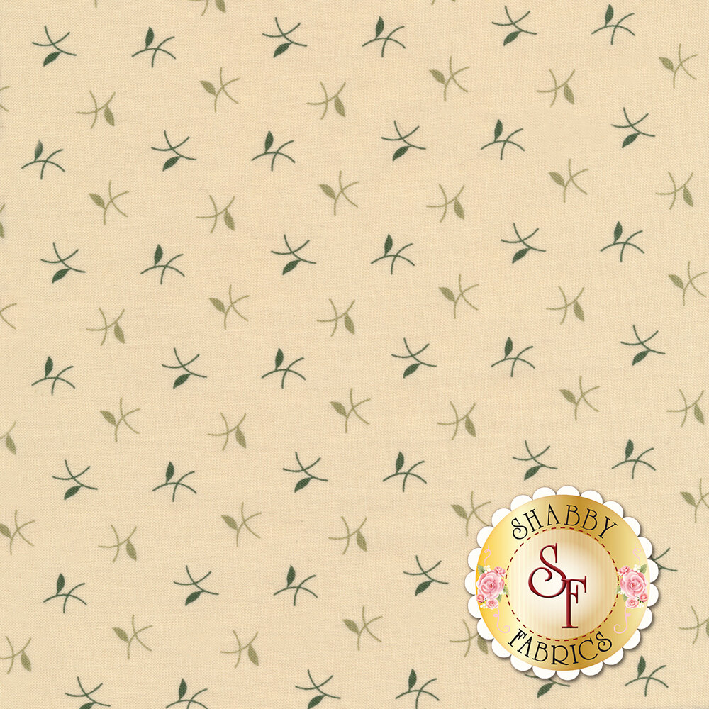 Tossed twigs on a cream background | Shabby Fabrics