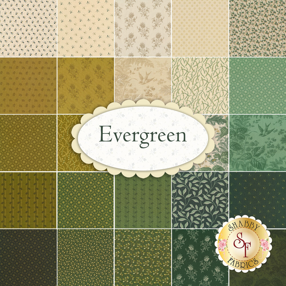 A collage of the fabrics included in the Evergreen collection by Andover Fabrics