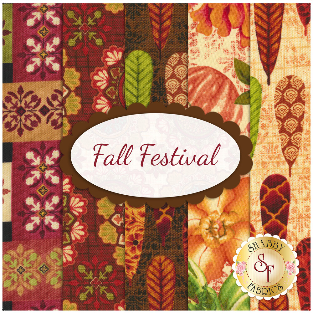 Collage of fabrics in Fall Festival FQ Set | Shabby Fabrics