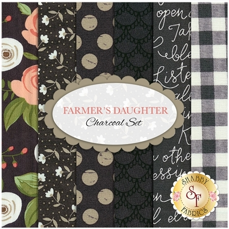 Farmer's Daughter  6 FQ Set - Charcoal Set by Lella Boutique for Moda Fabrics