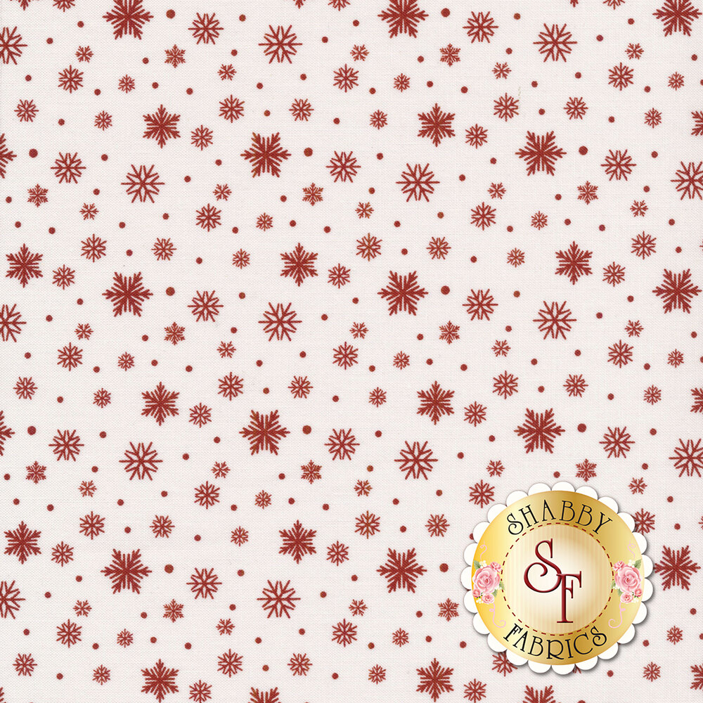 Red snowflakes and dots on white   Shabby Fabrics