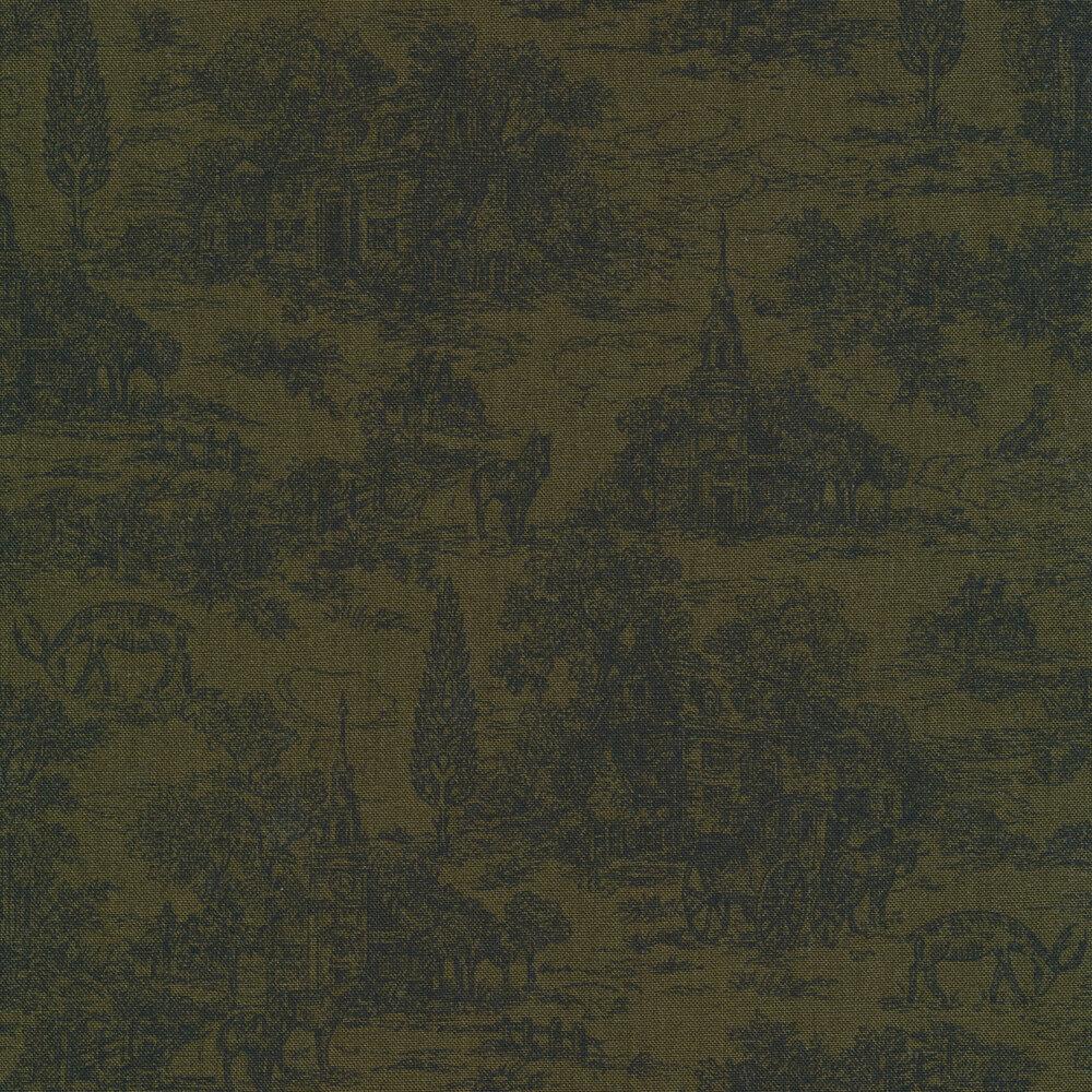 Dark green toile fabric with farmhouse scene