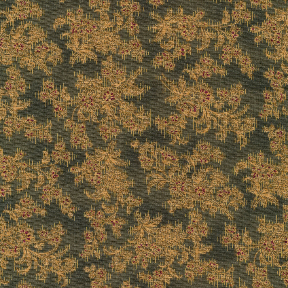 Dark green fabric with stylized yellow floral outlines all over