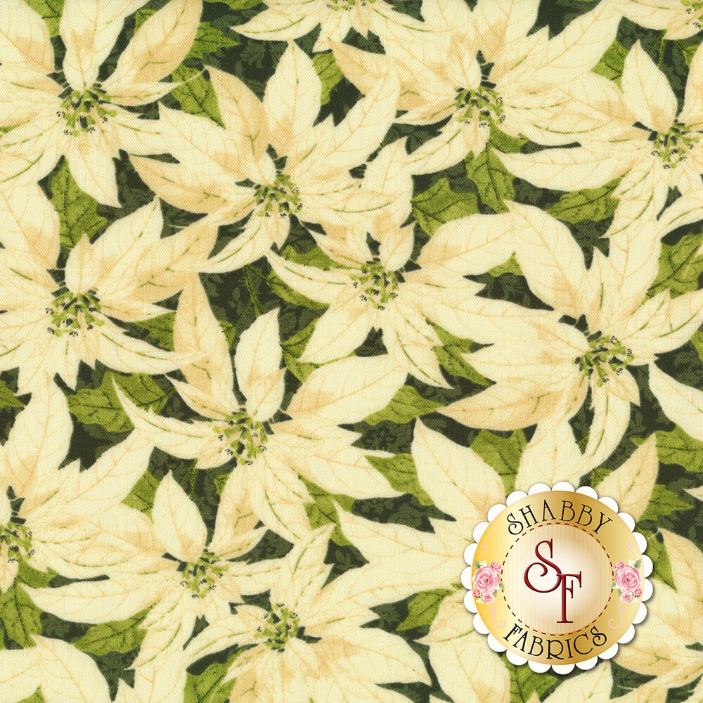 Medium sized cream poinsettias all over green | Shabby Fabrics