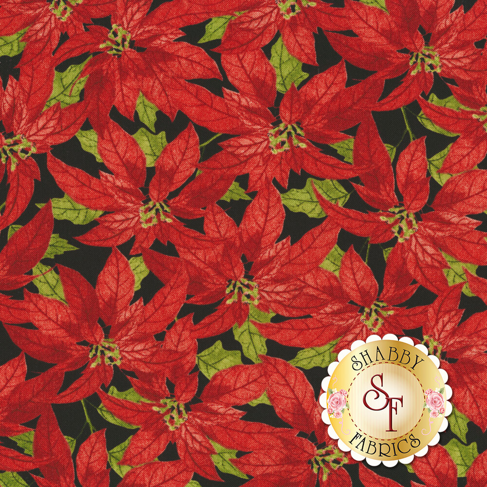 Red poinsettias all over black | Shabby Fabrics