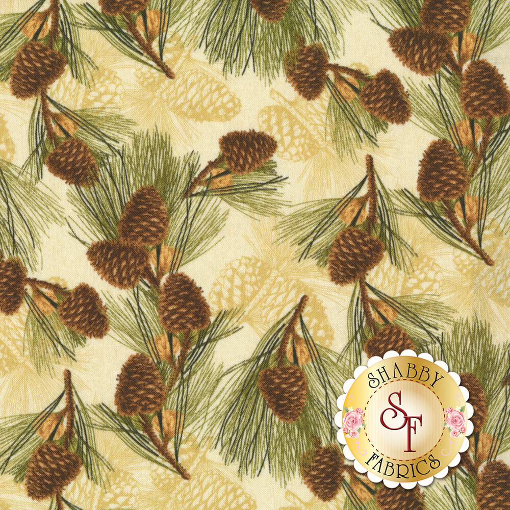 Pine cones and pine needles tossed on tan | Shabby Fabrics
