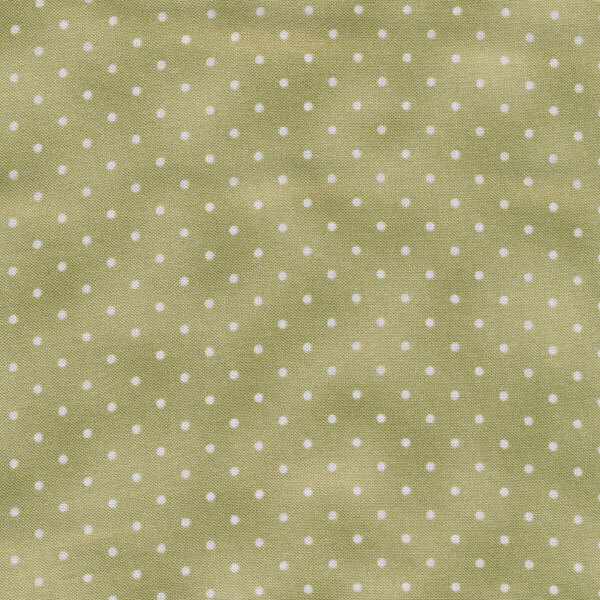 Small white polka dots on a mottled olive green background