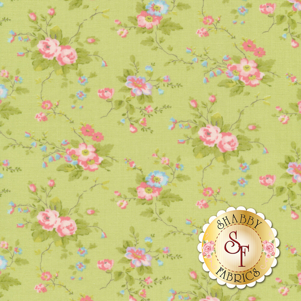 Pink and blue flowers with green leaves on green | Shabby Fabrics